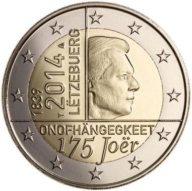 Lussemburgo 2 euro 175° anniversario indipendenza 2014